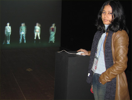 Shilpa Gupta with her untitled installation at Homo Ludens