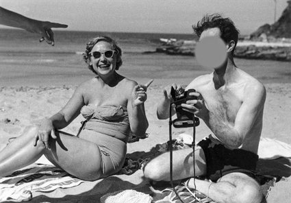Mrs Petrov at the Beach with an ASIO officer