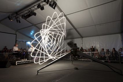 The Ada Project, Conrad Shawcross, (slow exposure exposing light tracing)