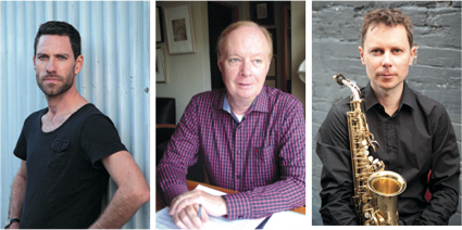 James Eccles, photo Michael Wholley, centre - Brian Howard, photo Victoria Owens, right - James Nightingale, courtesy the artist