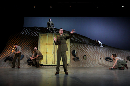 NIDA students perform Stephen Sewell's Kandahar Gate, 2014. Stage design by NIDA Design students Charles Davis (set), Emma Vine (costume)