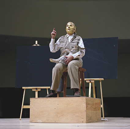 Marina Abramovic performing Joseph Beuys, How to Explain Pictures to a Dead Hare (1965) performance; 7 Easy Pieces, Solomon R. Guggenheim Museum, New York, 2005
