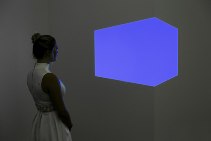 James Turrell, Shanta II (blue) 1970, cross-corner construction: fluorescent light, built space, Dimensions variable: 106.6cm (max height of aperture), National Gallery of Australia