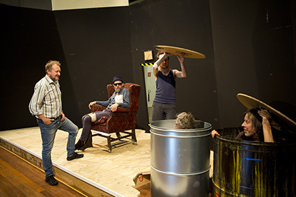 Andrew Upton and actors in rehearsal Endgame