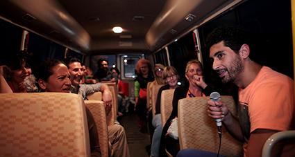 Isamah Sami and audience on the bus, Origin-Transit-Destination