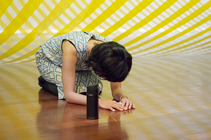 Gentle steps with an open mouth, Alice Hui-Sheng Chang, Perth iMprov Collective, with Elena Tory-Henderson's installation Big Yellow