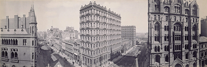 Melvin Vaniman, Panorama of intersection of Collins and Queen Streets Melbourne, 1903, platinum photograph