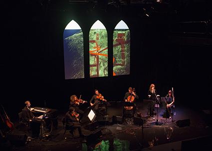 Orpheus Song,(L-R) David Trumpmanis, Ewan Foster, Stephanie Zarka, James Eccles, Geoffrey Gartner, Andrée Greenwell and Julia County
