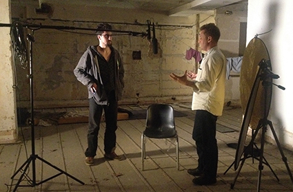 Amir Taaki and Alex Winter on set of Deep Web