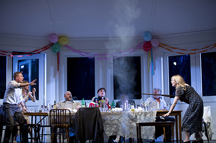 Richard Roxburgh, Jacqueline McKenzie, Marshall Napier, Eamon Farren, Brandon McClelland, Martin Jacobs and Cate Blanchett in Sydney Theatre Company's The Present
