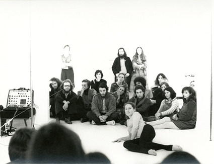 Philippa Cullen in performance, Ewing Gallery, 1974