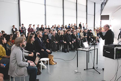 Stelarc and audience, keynote for NEAF