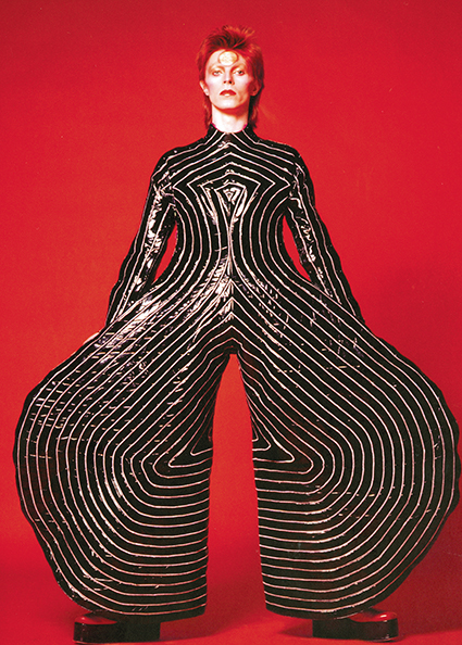 Striped bodysuit for 'Aladdin Sane' tour, 1973. Design by Kansai Yamamoto.