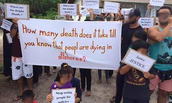 Asylum seekers on Nauru marked Australia Day by staging a protest.