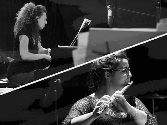 Lina Andonovska (flute), Sonya Lifschitz (piano), Crashing Through Fences, Press, Play program