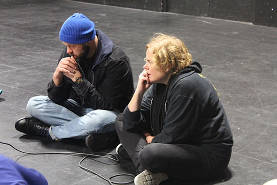 Lachlan Philpott & Katrina Douglas during rehearsals for Listen I'm Telling You Stories, 2015