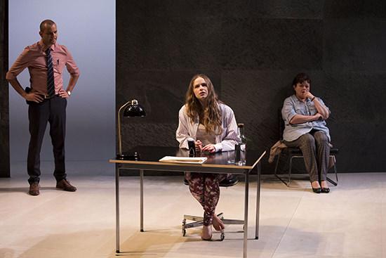 (L) Luke Carroll, Ashleigh Cummings, Genevieve Lemon in Sydney Theatre Company's The Hanging