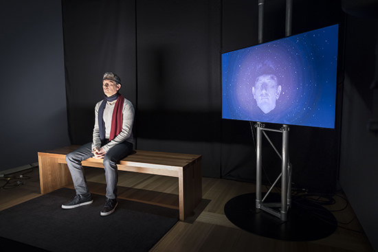 Subject undergoing George Khut's interactive brainwave experience, 2016, National Portrait Gallery