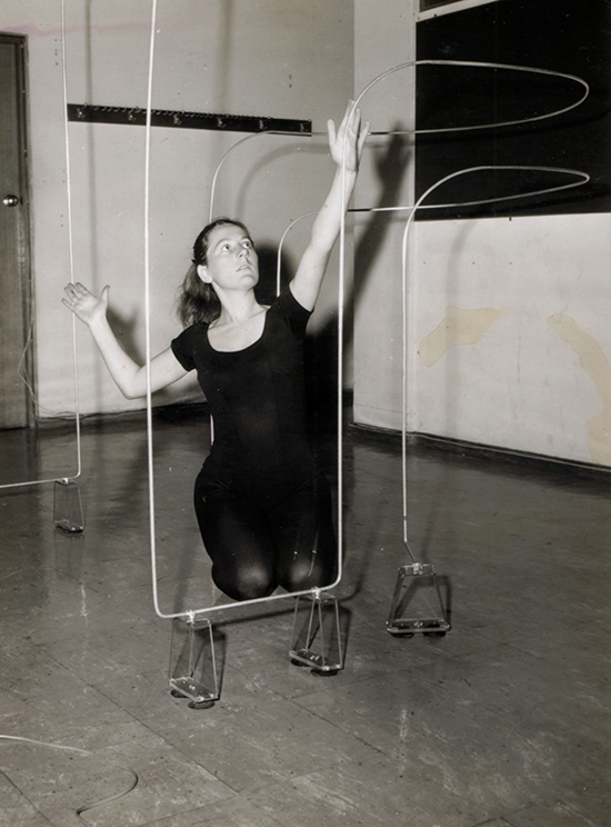 Philippa Cullen with wire loop antenna