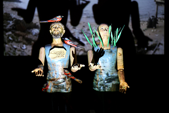 Riel Hilario, They came from the sea, 2016, installation of carved wood, found objects, single channel video and sound, dimensions variable, Roundabout, OzAsia 2016,