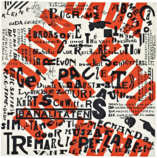 Kleine Dada Soirée, Theo Van Doesburg + Kurt Schwitters, 1922, lithograph, MoMA, New York