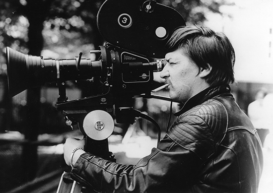 Rainer Werner Fassbinder on the set of Berlin Alexanderplatz, 1980