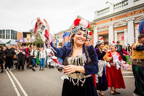 Assyrian wedding procession, performance documentation, Women of Fairfield