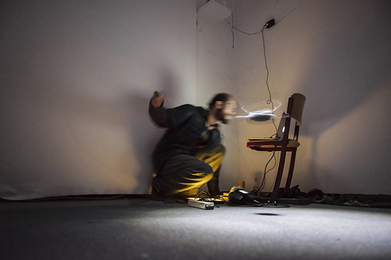 Rodrigo Rios Zunino performing with installation 360 for Radio Relay Circus, Radio Revolten