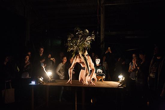 Matt Shilcock, Mel Tyquin (white mask), The Likes of Me, Underbelly Arts, 2015