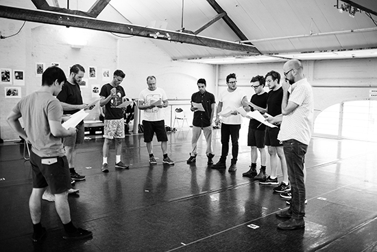 Chris Drummond (r) & cast, rehearsal Long Tan, BRINK/State Theatre Company of SA